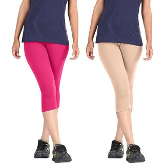 Pixie Women Super Fine Capri 190 GSM, Pack of 2 (Pink and Beige) - Free Size