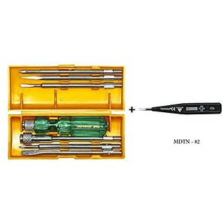Taparia 840 Screw Driver Set with Neon Bulb + Taparia Multi Purpose Digital Tester with LCD Display and Neon Bulb MDTN-82