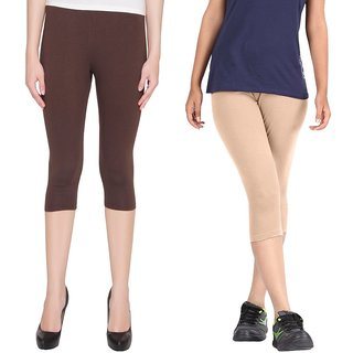 Pixie Women Super Fine Capri 190 GSM, Pack of 2 (Brown and Beige) - Free Size