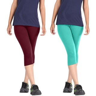 Pixie Women Super Fine Capri 190 GSM, Pack of 2 (Maroon and Turquoise) - Free Size
