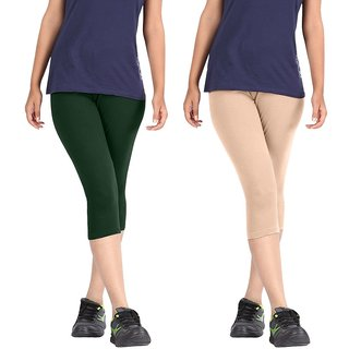 Pixie Women Super Fine Capri 190 GSM, Pack of 2 (Dark Green and Beige) - Free Size