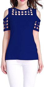 Aashish Garments - Royal Blue Cold Shoulder Sleeves Cutout Women Top