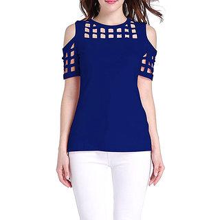 157f4782cb386c Buy Aashish Garments - Royal Blue Cold Shoulder Sleeves Cutout Women ...