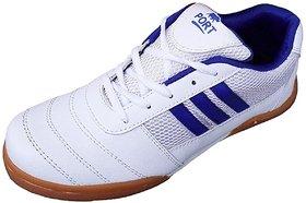 Port Unisex White Eravan Pu Badminton Shoes(Size 11 UK/IND)