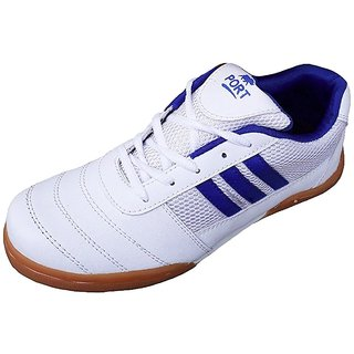 Port Unisex White Eravan Pu Badminton Shoes(Size 11 UK/IND)