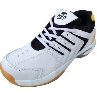 Port Unisex White Revolt PU Badminton Shoes(Size 11 UK/IND)