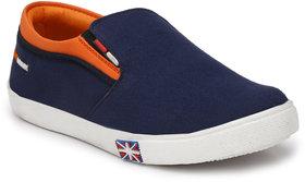 Franklien Men Leather Dark Blue Slip On Loafers