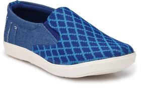 Franklien Men Leather Sky Blue Slip On Loafers