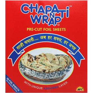 CHAPATI WRAP PRE-CUT FOIL 50 SHEETS SIZE- 25cmX22cm PACK OF 2- TOTAL  100 SHEETS