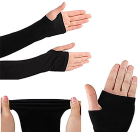 RRC Black Fingerless Arm Sleeve 1 Pair With Thumb Hole for All Sport Realted Acrivities