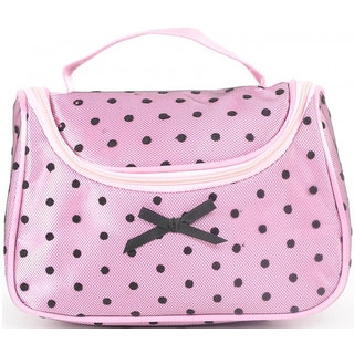 Aliado pink Satin cosmetic/utility Bag/pouch with black net and polka dots