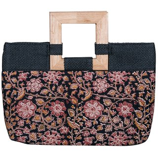 Kalamkari  Block Print Multicolor Cotton Handheld Evening Bag For Women
