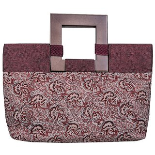 Kalamkari  Block Print Maroon Color Cotton Handheld Evening Bag For Women