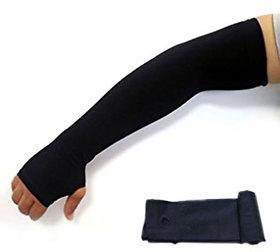 EquatorZone Men's Fingerless Black Skinny Fit Strechble Long full Arm Sleeves (BlackFree Size)