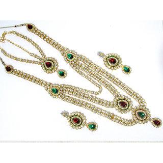 Maroon Green Nice Bridal Necklace Set