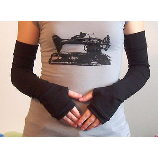 1PAIR Women's Fingerless Black Skinny Fit Strechble Long full Arm Sleeves/ Gloves for Bikers Protects from Sun  Cold (Best in Quality)