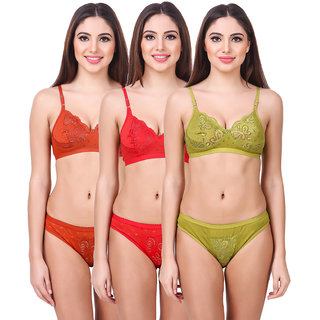 a4c4c04511 Buy woman bra and panty set pack o 3 Online - Get 64% Off