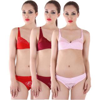 a391cb79ef Buy cotton bra panty set pack of 3 Online - Get 64% Off