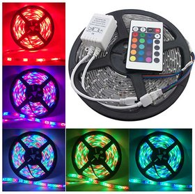 MTC 5 Meter Multicolor Remote controled RGB Waterproof LED Striplight with Adapter