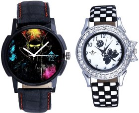 Black Dial 3D Designer And Black-White Flowers Couple A