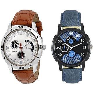 pmax leather big brown and leather blue combo new stylish  Watch For Men