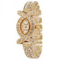 American Diamond Oval Studded Wrist Bracelet Cum Quartz Watch - Women