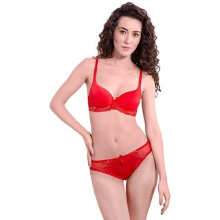 611352371b Buy Blended Lacy Push Up Underwire Bra and Bikini Set Online - Get ...