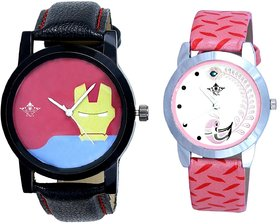 Ironman Face And Pink Peacock Couple Analogue Watch By
