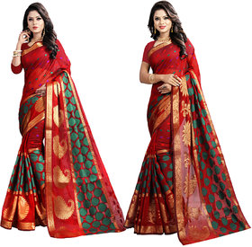 jayant creation self design women's choice new banarsi silk saree for wedding and partywear in combo (pack of 2 sarees with blouse)