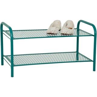 Foldable 2 Tier Metal Shoe Rack Shelf Green - Eurostar