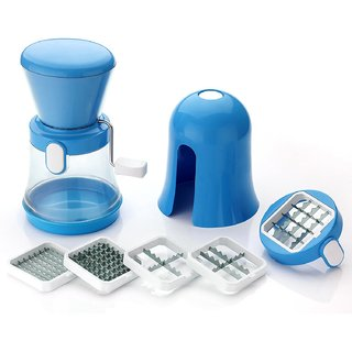 6 In 1 Multi Chipser Slicer Chopper Dicer Chilly Nuts Cutter - Blue