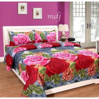 Attractivehomes Beautiful 3D Printed Glace Cotton Double Bedsheet With 2 Pillow Covers