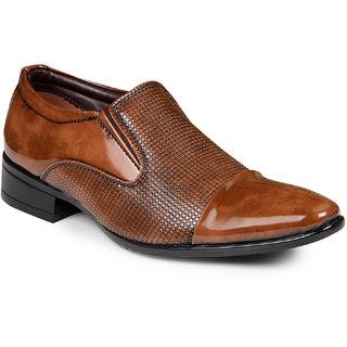 XE Looks Men Tan Formal Slip on Shoes