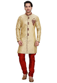 Abc Garments Golden Silk Sherwani For Mens