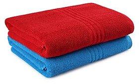 angel homes  450 GSM Red,Blue Bath Towel Combo set of 2