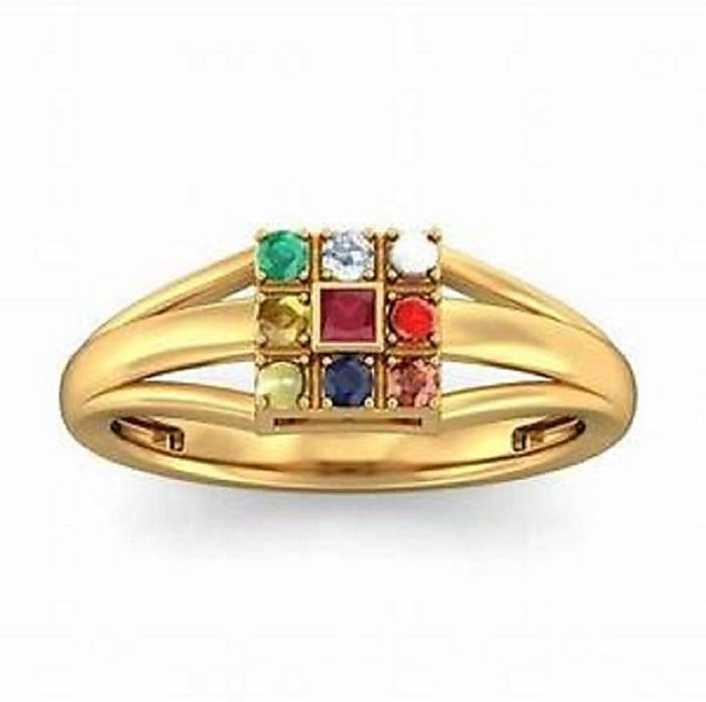 Natural Navratna Ring Stone Crystal Copper Plated Ring Jaipur Gemstone