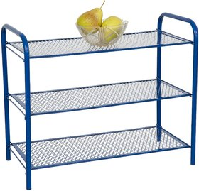 Foldable 3 Tier Metal Multi Utility Rack Shelf Blue - Eurostar