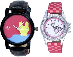 Ironman Face And Pink Flowers Couple Analogue Watch By