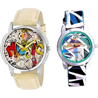 World Rock Music With Sky Blue Sep Couple Analogue Wrist Watch By SCK