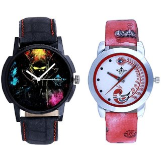 Ghost Design Dial With Red More Couple Analogue Wrist Watch By SCK