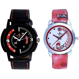 Red-White Design With Red More Couple Analogue Wrist Watch By SCK