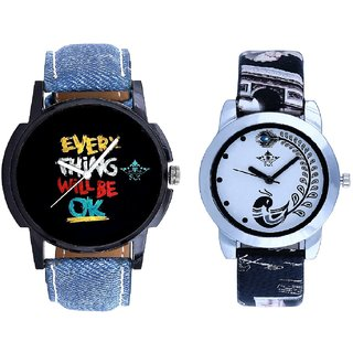 Super Every Thinke Will Be Ok Dial With Black More Couple Analogue Wrist Watch By SCK