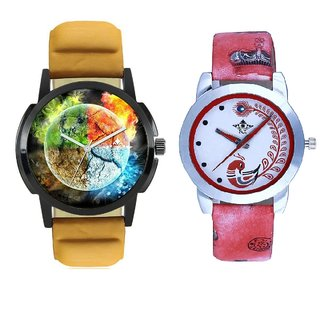3D Art With Red More Couple Analogue Wrist Watch By SCK