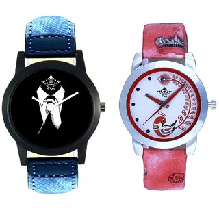 Black-White Dial With Red More Couple Analogue Wrist Watch By SCK