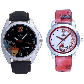 Goal Multi Dial With Red More Couple Analogue Wrist Watch By SCK