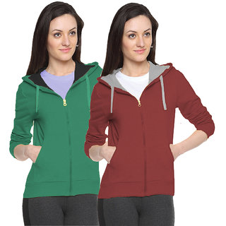 Fuego Fashion Wear Multicolour Sweatshirt For Women-Pack Of 2