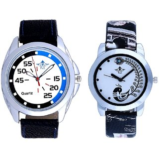 Blue-Black Chen With Black More Couple Analogue Wrist Watch By SCK