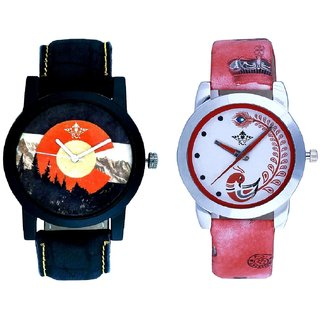Green Mount Themes With Red More Couple Analogue Wrist Watch By SCK