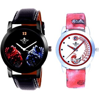 Jaguar Face Dial With Red More Couple Analogue Wrist Watch By SCK