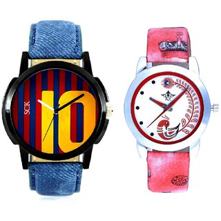 Number 10 Dial With Red More Couple Analogue Wrist Watch By SCK